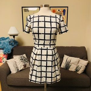 French Connection White Paint Checked Dress